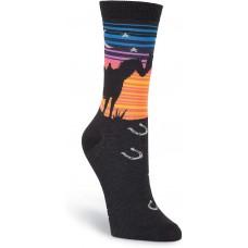 K. Bell Sunset Horses Crew, Black, Womens Sock Size 9-11/Shoe Size 4-10, 1 Pair