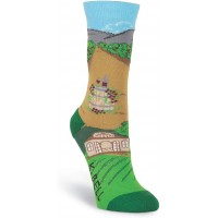 K. Bell Winery Crew - American Made, Green, Womens Sock Size 9-11/Shoe Size 4-10, 1 Pair