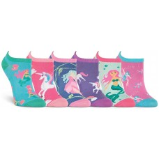 K. Bell Mythical Creatures, Blue Assorted, Womens Sock Size 9-11/Shoe Size 4-10, 6 Pair