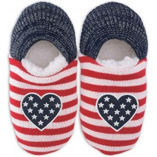 K. Bell Americana Heart Slippers, Navy, Womens Shoe Size 5-8.5, 1 Pair