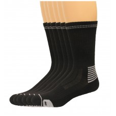 Lee Men's Antimicrobial & Odor Control Crew Socks 6 Pair, Black, Men's 6-12