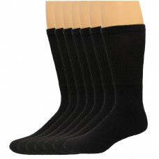 Lee Men's Big & Tall Crew Sport Socks 7 Pair, Black, Men's 13-16