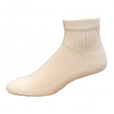 Medipeds Coolmax Cotton Half Cushion Quarter Socks 2 Pair, White, M9-12