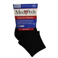Medipeds Diabetic Light Weight Turn Cuff Socks 1 Pair, Black, W9-11 / M9-12.5