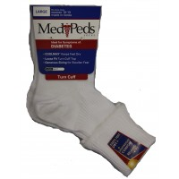 Medipeds Diabetic Light Weight Turn Cuff Socks 1 Pair, White, W9-11 / M9-12.5