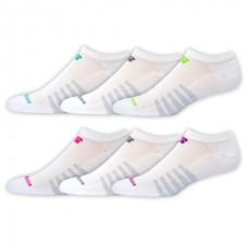 NB Core Cotton No Show Socks, Medium, White, 6 Pair
