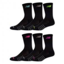 NB Core Cotton Crew Socks, Medium, Black, 6 Pair