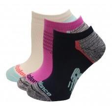 New Balance Strategic Cushion Running No Show Socks, White Multi, (S) Ladies 4-6, 3 Pair