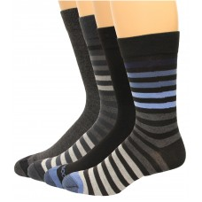 Rockport Men's Crew Socks 4 Pair, Dark Stripe Assort., Men's 8-12