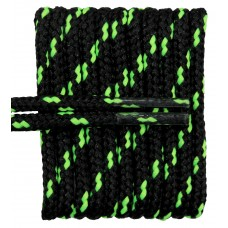 FeetPeople High Quality Round Laces For Boots And Shoes, Black With Neon Yellow Chip