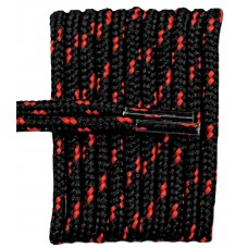 FeetPeople High Quality Round Laces For Boots And Shoes, Black With Red Chip