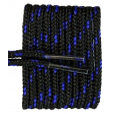 FeetPeople High Quality Round Laces For Boots And Shoes, Black With Royal Chip