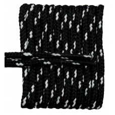 FeetPeople High Quality Round Laces For Boots And Shoes, Black With White Chip