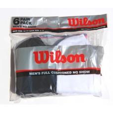 Wilson Mens Full Cushioned No Show, White/Black, 6 Pair