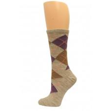 Wise Blend Argyle Crew Socks, 1 Pair, Stone, Medium, Shoe Size W 6-9