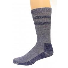 Wise Blend Men's Double Stripe Crew Socks, 1 Pair, Denim, Medium, Shoe Size M 9-13