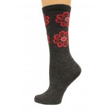 Wise Blend Flower Leg Crew Socks, 1 Pair, Charcoal, Medium, Shoe Size W 6-9