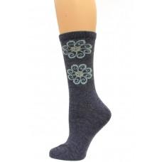 Wise Blend Flower Leg Crew Socks, 1 Pair, Denim, Medium, Shoe Size W 6-9