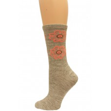 Wise Blend Flower Leg Crew Socks, 1 Pair, Stone, Medium, Shoe Size W 6-9