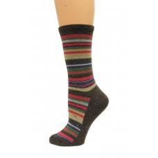 Wise Blend Large Stripe Crew Socks, 1 Pair, Brown, Medium, Shoe Size W 6-9