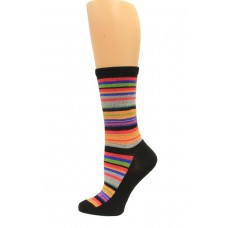 Wise Blend Large Stripe Crew Socks, 1 Pair, Black, Medium, Shoe Size W 6-9