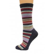 Wise Blend Large Stripe Crew Socks, 1 Pair, Denim, Medium, Shoe Size W 6-9