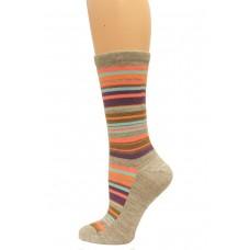 Wise Blend Large Stripe Crew Socks, 1 Pair, Stone, Medium, Shoe Size W 6-9