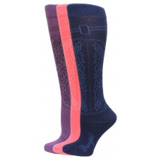 Wrangler Cowgirl Boot Sock 3 Pair, Assorted Colors, W 5-7